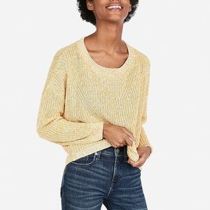 Express Yellow Cable Knit Split Back Sweater